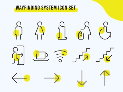 Wayfinding System Pictogram pictogram symbol signages directional wayfinding minimal flat icon vector logo design illustration