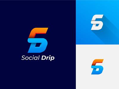 Social Drip agency Logo minimalist logo d letter logo drip agency social creative logo logo design branding brand identity lettermark logo mark s logo mark gradient logo modern logo logodesign