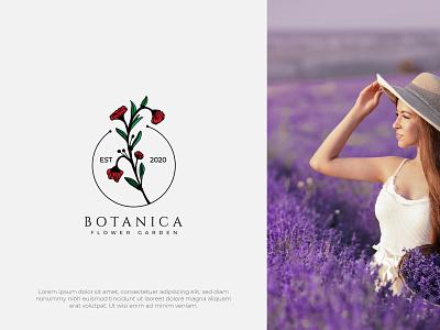 Botanica Branding brand design hand drawn logo mark red branding design art logo logo design flower illustrator botanical illustration minimalist logo flower logo flower illustration brand identity branding logotype logodesign