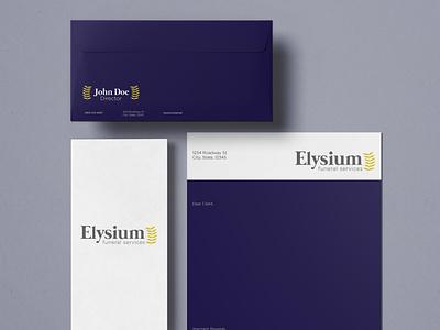 Elysium Stationary typogaphy letterhead stationery logodesign logo branding design branding