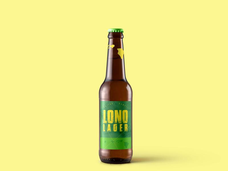 Lono Lager hawaii woodblock typography label beer graphic design
