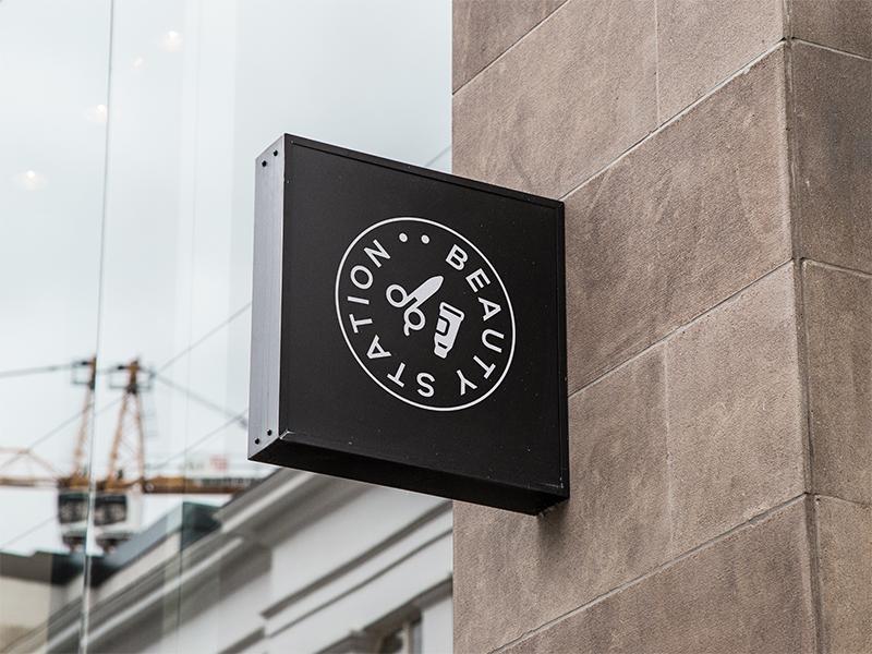 Beuty Station logo vector typography logotype logo illustration flat design scissors salon beauty brand