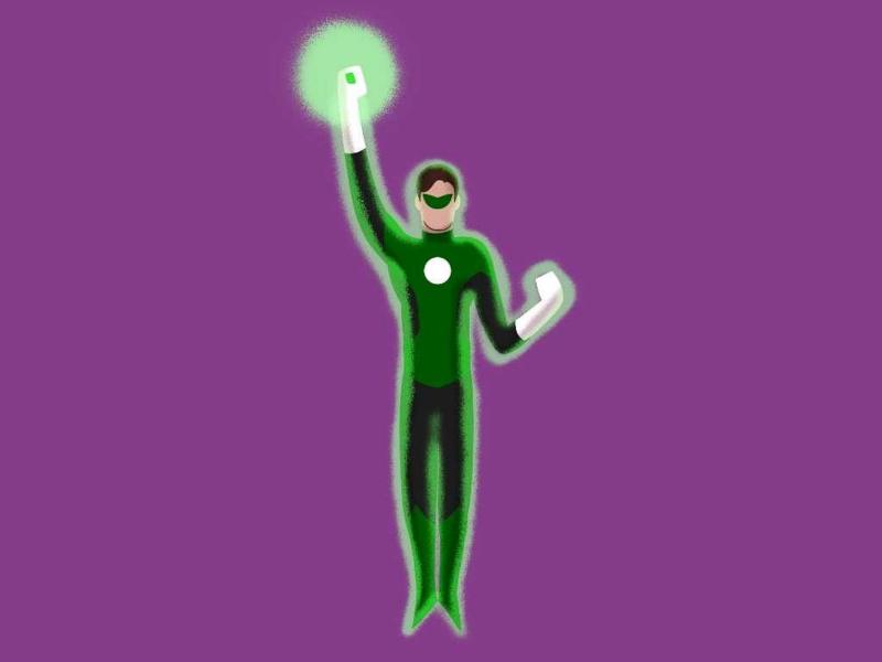 Green Lantern minimalist illustration green lantern dc comics