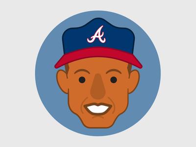 Hammerin' Hank hank aaron cartoon illustration braves atlanta baseball