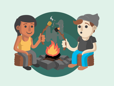 Golden brown? Or burnt to a crisp? camp fire illustrator illustration woods forest marshmallow camping