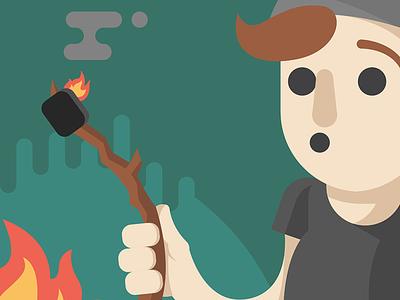 Campfire! summer oops illustrator vector illustration marshmallow camping camp