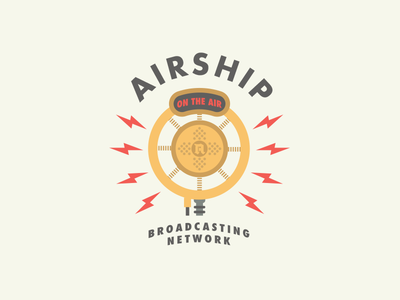 Airship Broadcasting Network Logo logo illustrator vector 1920s microphone mic twitch airship