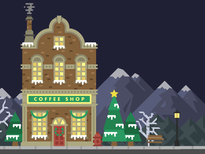 Christmas Village winter snow mountain tree coffee builder scene christmas building illustration vector
