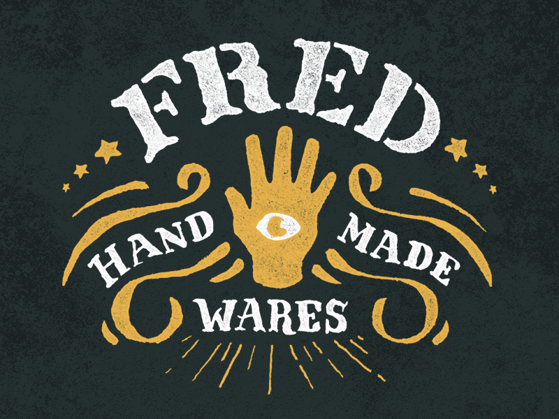 Fred Handmade Wares illustrator hand eye fortune occult drawn rough lettering brand logo