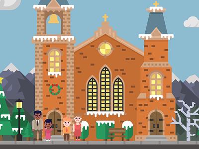 Christmas Village Builder winter snow family church illustration vector christmas