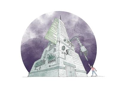 Irregardless EP Cover painting architecture skyscraper sci-fi watercolor album