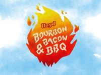 Bourbon, Bacon & BBQ Logo fire handlettering typography western rough ipad watercolor bbq