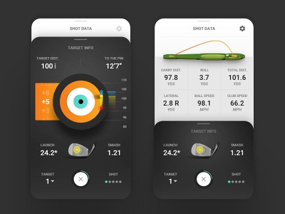 Golf Simulator Target Info Stacked Ui ios golf mobile app mobile vector ux sketch sports ui