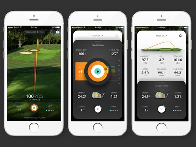 Golf Simulator Screen Sequence golf ios mobile app mobile vector ux sketch sports ui