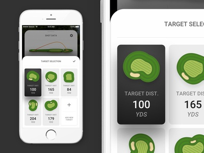Target Selection Full sketch ios mobile app mobile golf ux vector sports ui