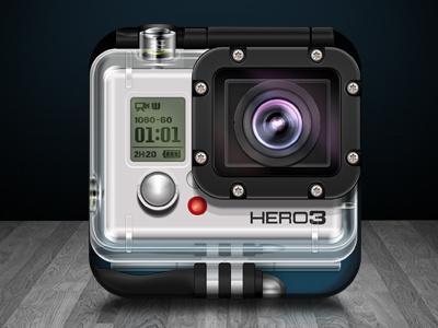 GoPro Hero3 iOS icon concept  rebound hd gopro3 icon ios iphone app illustration photoshop gopro camera extreme sports video go pro apple ipad appstore