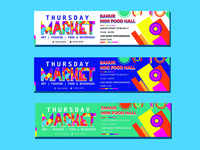 Banner memphis full color templates vector design pack 01