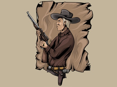 Cowboy with gun vintage vector art