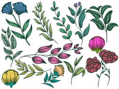 Floral pattern with leaves Premium Vector