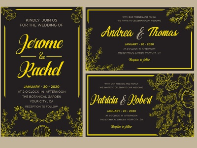 Wedding Cards Designs Themes Templates And Downloadable Graphic Elements On Dribbble