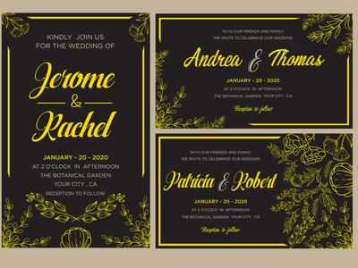 Wedding invitation card gold set template
