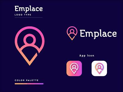 Emplace Branding Company Logo Design App Icon minimal flat logo type graphic design app icon modern logo design creative logo design company man icon location emplace logo design 3d vector logo design illustration typography icon branding