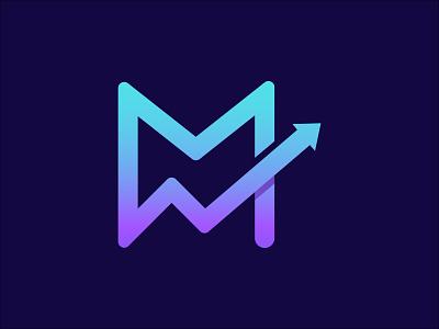 M Letter + Arrow Logo Design product print motion graphics graphic design arrow minimal flat creative logo modern logo m letter logo ui logo design 3d vector logo design illustration typography icon branding