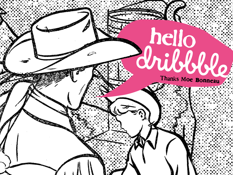 Dribbbledebut hello dribbble collage xerox retro cowboys
