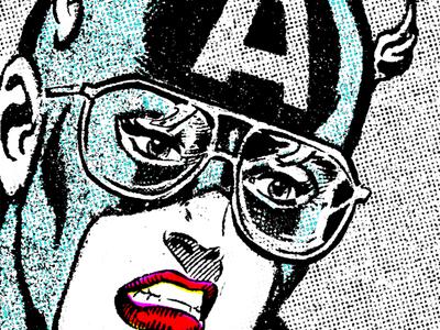 Ms. America glasses halftone photocopy gender captain america comics