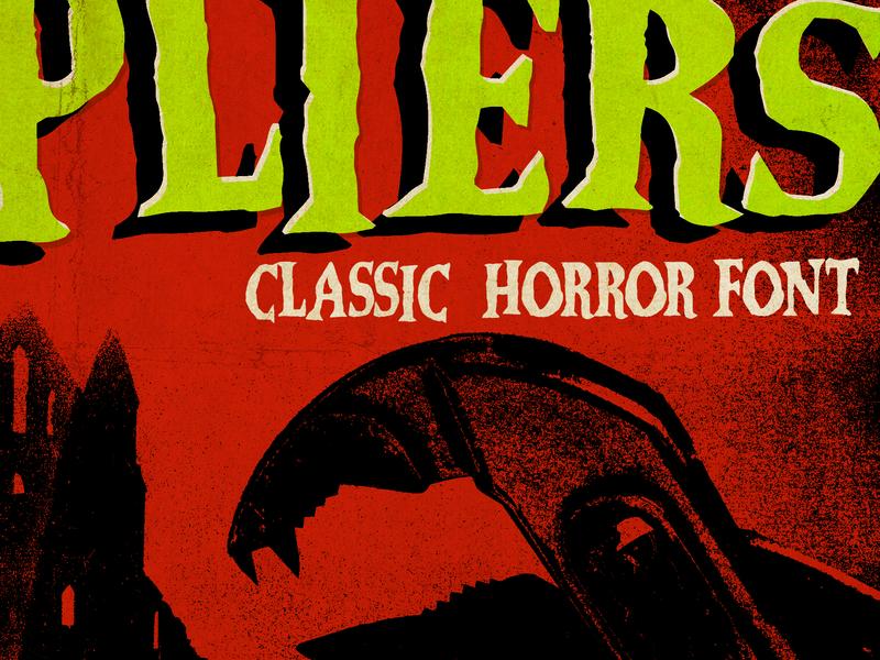 Vampliers vampire dracula drive in b-movie campy noir classic vintage display horror movie film poster scary font horror