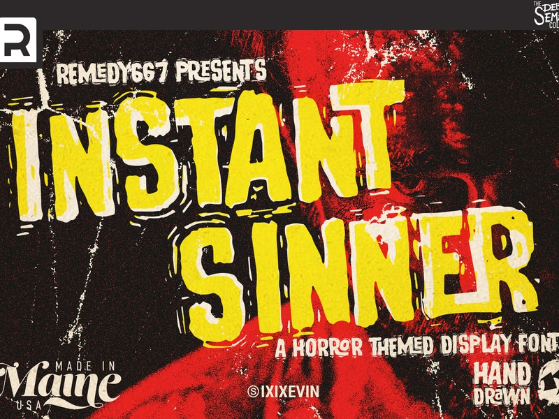 Instant Sinner vhs ligature oldschool vintage rough gritty surf film horror movie scratchy display maine remedy667 october terror scary halloween horror hand drawn font
