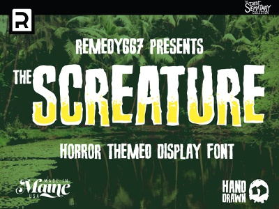 Screature frankenstein retro fright evil dark horror font hollywood classic vintage drawn type hand-lettered film monster horror movie movie font halloween horror