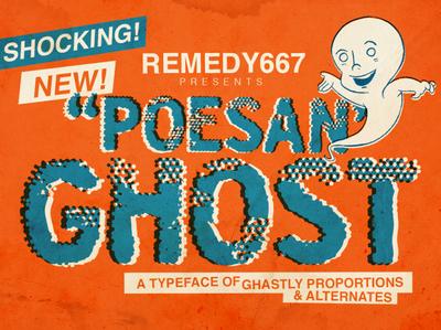 Poesan GHOST halftones comic ghost halloween font display font design horror font