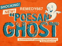 Poesan GHOST halftones comic ghost halloween font display font design horror font