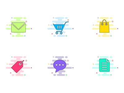 creative colorful online shopping icons