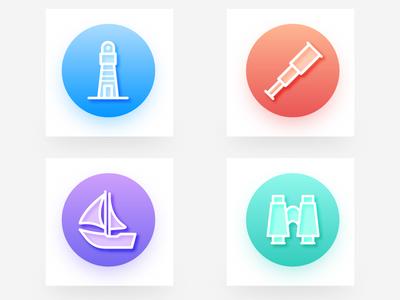 sea icons boat, lighthouse, telescope,Binoculars design
