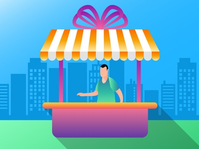 shopkeeper with gift local shop city day background