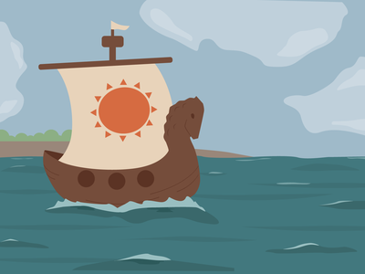 Russian fairy tale sea ship russian russia fairytale illustration flat