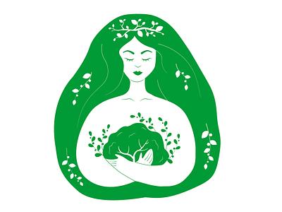 ecoprint minimalism minimal green nature eco ecology vector girl illustration flat