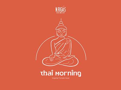Budda illustration flat design girl vector red minimalistic minimalism minimal thailand