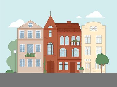 Vilnius street design vector illustration flat
