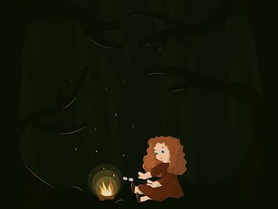 brave scottish princess girl vector illustration flat curls curly ginger fire forest princess