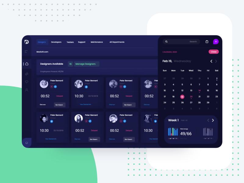 HR Portal Web App for Employee Tracking Abstract Night Mode smarthome branding typography clock app minimal ux design illustration adobexd ui