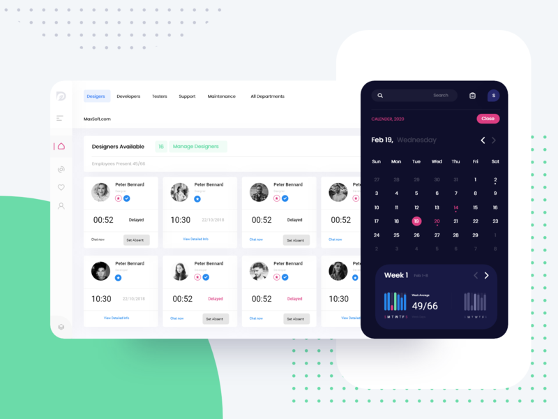 HR Portal Web App for Employee Tracking Combined ux ui minimal illustration design adobexd creative branding interfacedesign cuberto interface