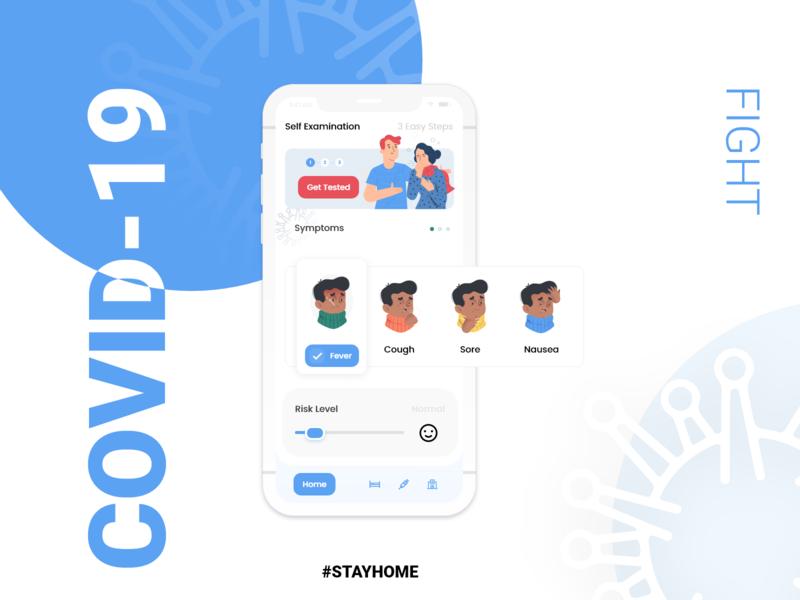 COVID-19 App For Self Examination animation web mobile app design design minimal app adobexd ui ux branding