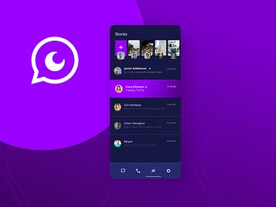Dark mode for Chat App icon typography app ui ux logo creative branding android app ios web design whatsapp