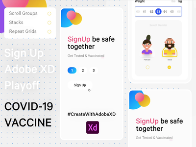 Sign Up page for #CreateWithAdobeXD My first animated shot creative branding vaccine ux ui interaction adobe adobexd animation design interface illustration code covid-19 coronavirus sign in sign up signup animation