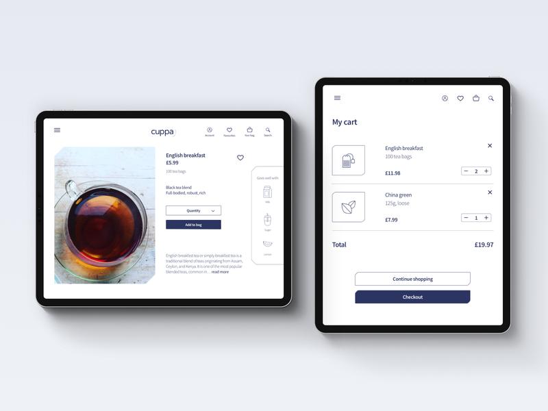 Cuppa - Online store UI design tea online shopping online store online shop ui design ui