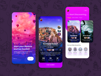 Travel app journey gems explore beauty destinations hospitality illustraion whislist trip travel artist uxdesign ux ui design conceptdesign cleandesign clean adobexd app