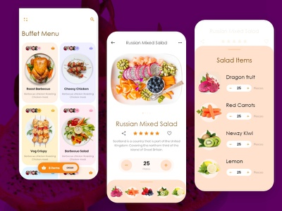 Buffet Menu - Food App menu yummy tasty dishes restaurant items salad buffet food and drink food artist uxdesign ui ux design conceptdesign cleandesign clean app adobexd